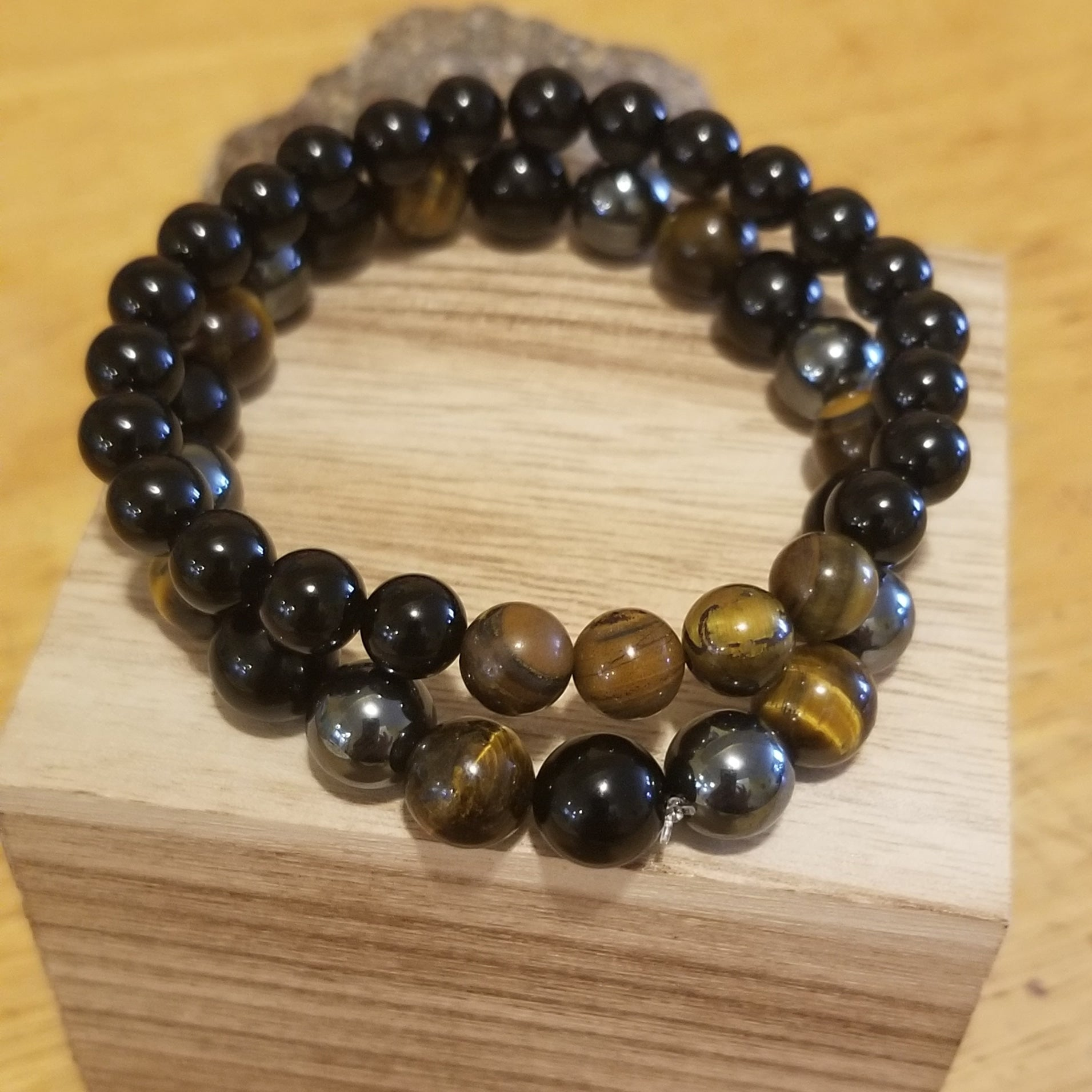 Protection Combination 2pc Tigers Eye Hemetite Onyx