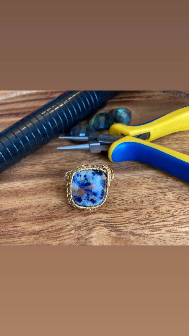 Sodalite Wire Woven Gemstone Rings