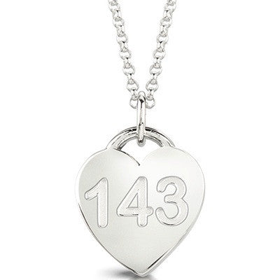 143 Heart Necklace by Meeo Miia. Sterling Silver. Charm