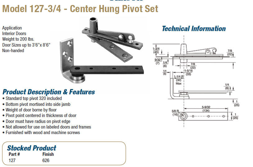 Model 127 3/4 Center Hung Pivot Set