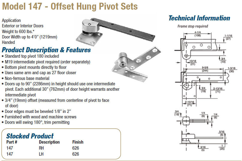 Model 147 Offset Hung Pivot Sets