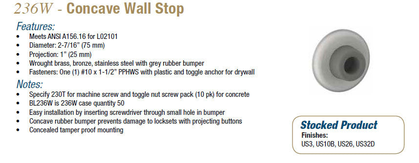 HAGER 236W CONCAVE WALL STOP - Doors and Specialties Co.