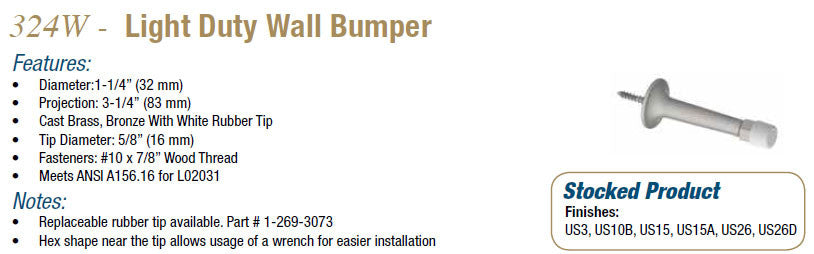 324W Light Duty Wall Bumper - Doors and Specialties Co.