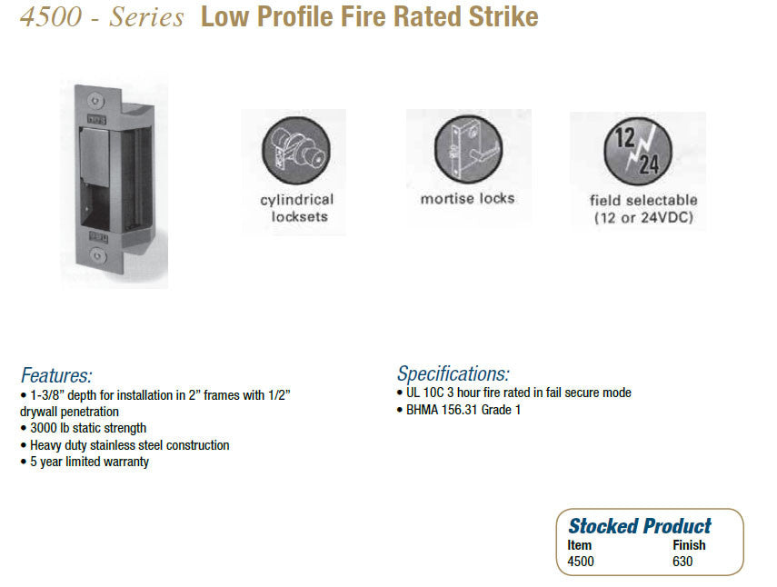 4500 Series Low Profile Fire Rated Strike