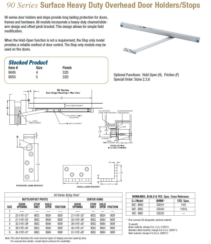 90 Series Surface Heavy Duty Overhead Door Holders/Stops