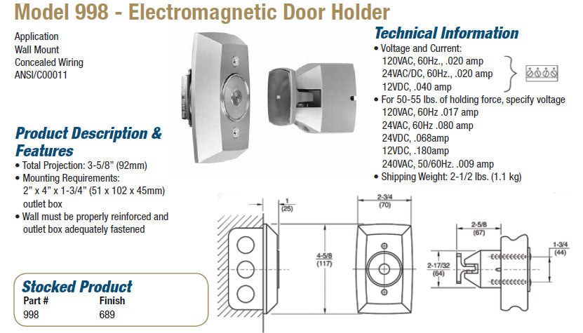 Rixson Model 998 Electromagnetic Door Holder