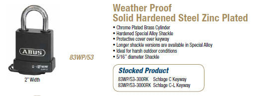 Weather Proof Solid Hardened Steel Zinc Plated