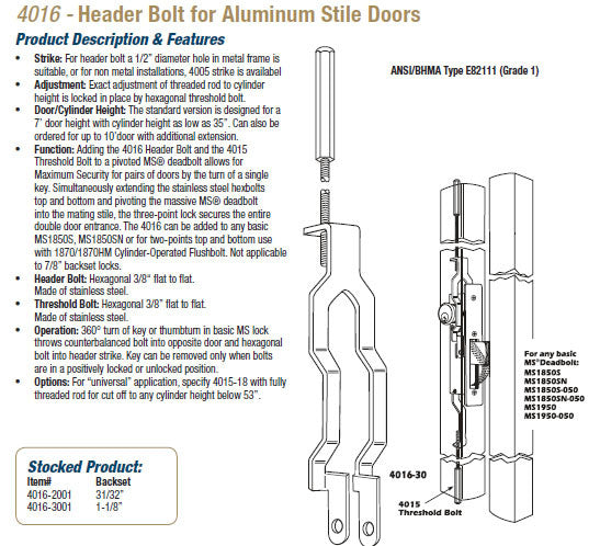 Adams Rite 4016 Header Bolt For Aluminum Stile Doors