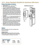4510 Series Deadlatch Deadbolt for Aluminum Stile Doors - Doors and Specialties Co.