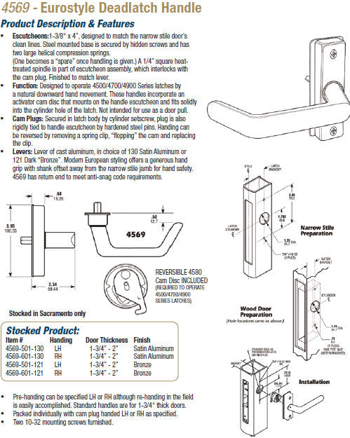 4569 Eurostyle Deadlatch Handle