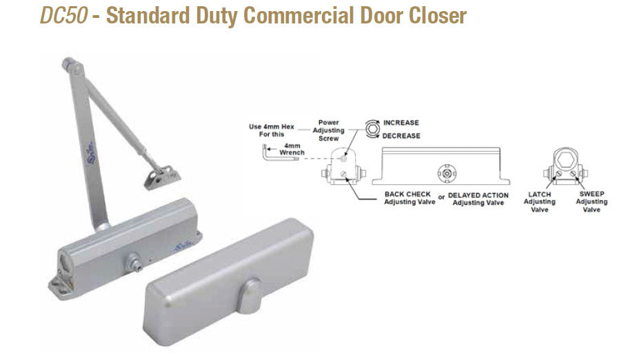 Doormerica Dc50 Standard Duty Commercial Door Closer