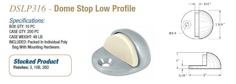 DSLP316 Dome Stop Low Profile - Doors and Specialties Co.