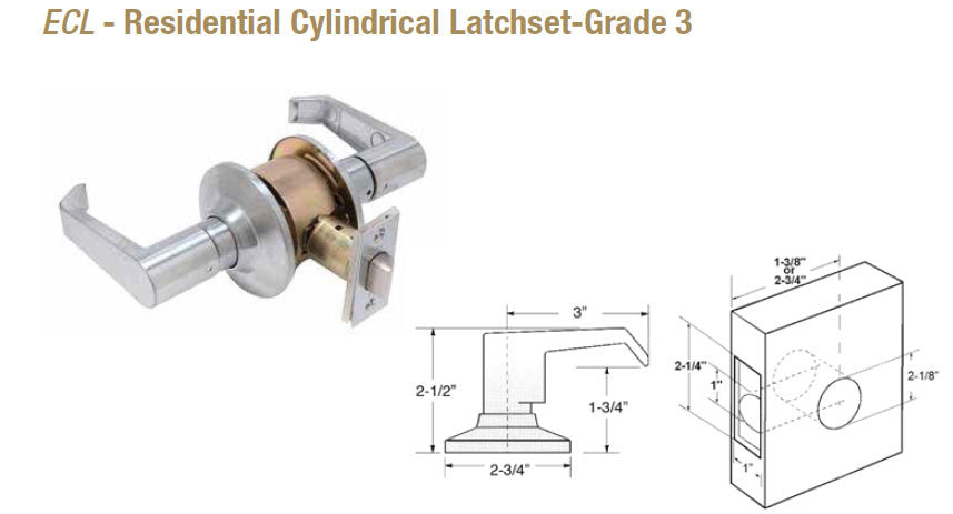 ECL Residential Cylindrical Latchset Grade 3