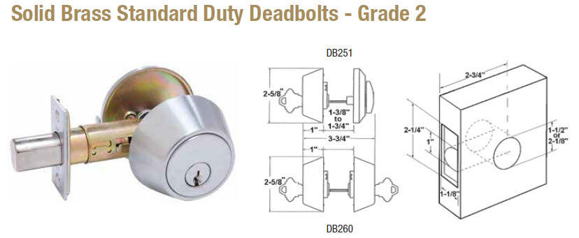 Solid Brass Standard Duty Deadbolts Grade 2