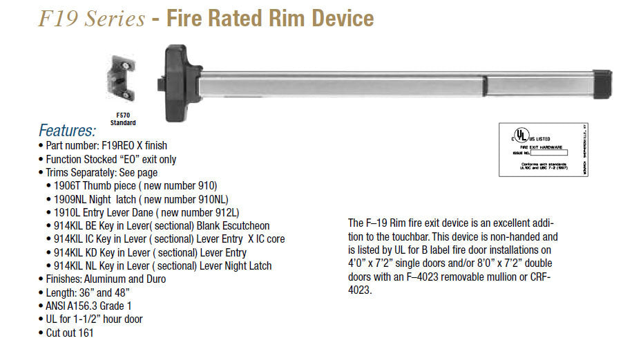 19 SERIES RIM AND ROD DEVICES ALUMINUM