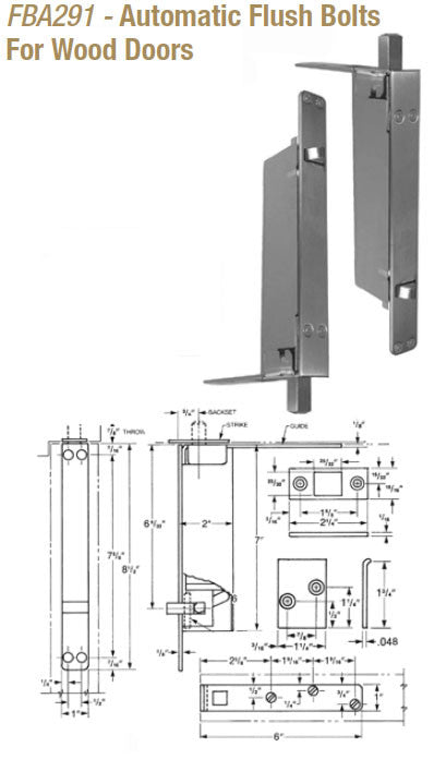 Doormerica Fba291 Automatic Flush Bolts For Wood Doors