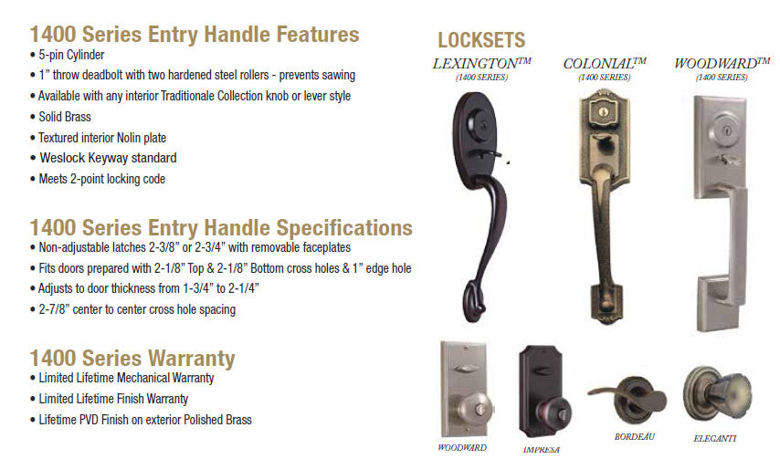 Weslock 1400 Series Entry Handle Features