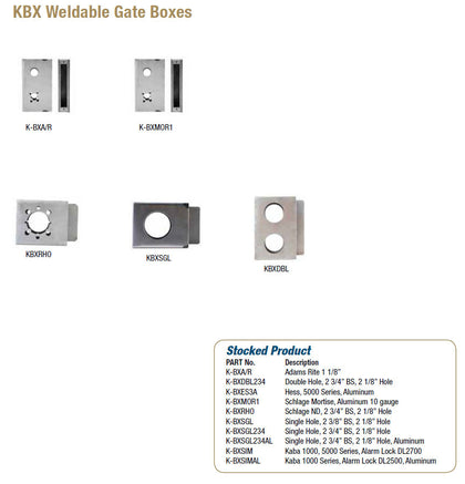KBX Weldable Gate Boxes - Doors and Specialties Co.