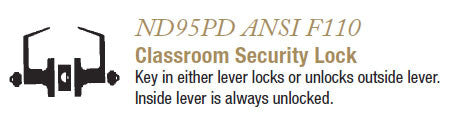 ND95PD Classroom Security Lock
