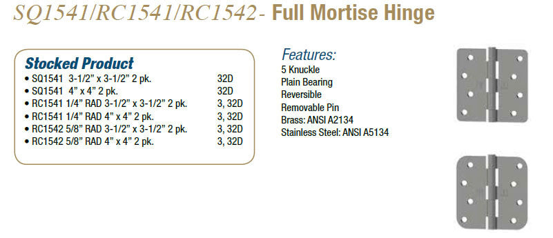 SQ/RC1541/1542 FULL MORTISE HINGE - Doors and Specialties Co.