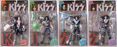 1997 Boxed and Sealed Set of (4) KISS Action Figures - 1st Edition with Letter Stands! MINT!