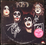 "1974 ACE FREHLEY & PETER CRISS PERSONALLY AUTOGRAPHED 1974 CASABLANCA/WARNER BROS. RECORDS"" KISS S/T"" WHITE LABEL 1st PRESSING PROMOTIONAL -ONLY LP! AWESOME PIECE! VERY FRAMABLE! EX+++!"