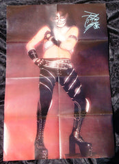 "1978 PETER CRISS PERSONALLY AUTOGRAPHED 1978 ""GIANT LOVE GUN ERA PETER CRISS FOLD-OUT COLOR POSTER""! AWESOME SHOT! FRAMABLE! MINT!"