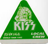 "1992 KISS RARE ORIGINAL (UNUSED) ""REVENGE LOCAL CREW"" SATIN BACKSTAGE PASS! MINT!"