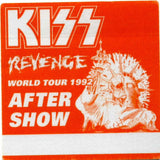 "1992 KISS RARE ORIGINAL (UNUSED) ""REVENGE (ORANGE) AFTER SHOW"" SATIN BACKSTAGE PASS! MINT!"
