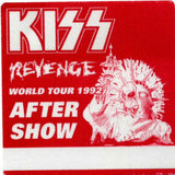 "1992 KISS RARE ORIGINAL (UNUSED) ""REVENGE (RED) AFTER SHOW"" SATIN BACKSTAGE PASS! MINT!"