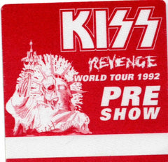 "1992 KISS RARE ORIGINAL (UNUSED) ""REVENGE PRE SHOW"" SATIN BACKSTAGE PASS! MINT!"