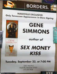 "2003 RARE U.S. OFFICIAL ORIGINAL ""GENE SIMMONS SEX MONEY KISS NASHVILLE, TN. BOOK SIGNING PLAYBILL POSTER""! NrMINT"