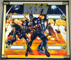 "1978 AUCOIN MANAGEMENT, INC. ORIGINAL ""KISS PINBALL MACHINE BACK GLASS REPLACEMENT PART!"" MINT!"