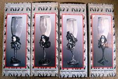 "1999 KISS CATALOG, LTD. Official U.S. Complete Set Of (4) (SEALED) ""KISS WINE GOBLETS""! MINT!"