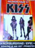 "1997 Original German Import (ILLEGAL & NOT USED)""1997 KISS REUNION ALIVE WORLDWIDE POSTER FOR NURBURGRING/EIFEL, GERMANY MAY 18,1997 CONCERT! UNBELIEVABLE! MINT!"