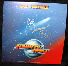"2013 ACE FREHLEY PERSONALLY AUTOGRAPHED 1987 S/T MEGAFORCE RECORDS ""FREHLEY'S COMET"" 2-SIDED PROMOTIONAL-ONLY LP FLAT! AWESOME PIECE! VERY FRAMABLE! MINT!"