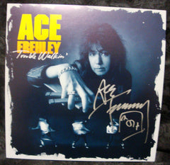 "2013 ACE FREHLEY PERSONALLY AUTOGRAPHED 1989 MEGAFORCE RECORDS ""TROUBLE WALKIN' "" 2-SIDED PROMOTIONAL-ONLY LP FLAT! AWESOME PIECE! VERY FRAMABLE! MINT!"