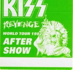 "1992 KISS RARE ORIGINAL (UNUSED) ""REVENGE AFTER SHOW"" SATIN BACKSTAGE PASS! MINT!"