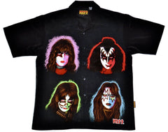 "2002 U.S. (NEW-NOT WORN) OFFICIAL KISS CATALOG, LTD. ""KISS SOLO FACES DRAGONFLY BUTTON UP SHIRT"" MINT!"