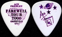 "2000 KISS OFFICIAL FAREWELL TOUR ""ACE FREHLEY CITY PICK - GREENVILLE 4-21"" GUITAR PICK MINT!"