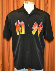 "2002 U.S. (NEW-NOT WORN) OFFICIAL KISS CATALOG, LTD. ""KISS LOGO FLAMES DRAGONFLY BUTTON UP SHIRT"" MINT!"
