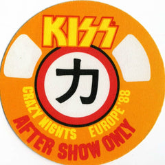 1988 KISS RARE ORIGINAL (UNUSED) '88 EURO CRAZY NIGHTS/MOR BACKSTAGE SATIN PASS #1