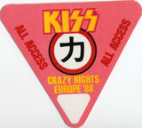 1988 KISS RARE ORIGINAL (UNUSED) '88 EURO CRAZY NIGHTS/MOR ALL ACCESS SATIN PASS #6
