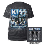 "2012 KISS DISTRESSED GRAY LOUD AND PROUD ""MONSTER"" U.S.TOUR T-SHIRT W/DATES! )2-Sided)"