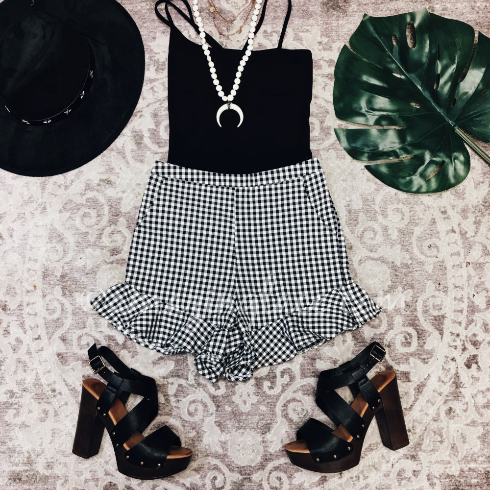 BLACK BODYSUIT AND GINGHAM SHORTS OUTFIT