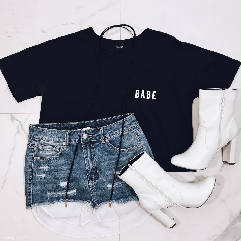 7159a7341ba BABE TOP AND DENIM SKIRT WITH WHITE BOOTIES OUTFIT – Amazing Lace