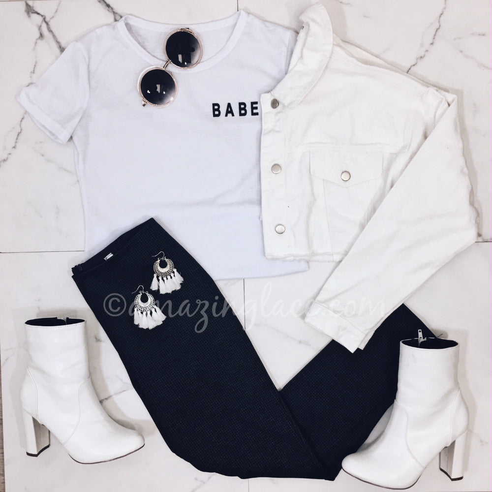 BABE TOP AND DENIM JACKET OUTFIT