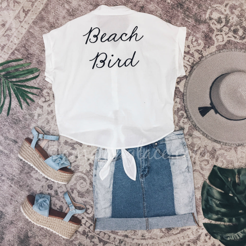 BEACH BIRD TOP AND DENIM SKIRT OUTFIT