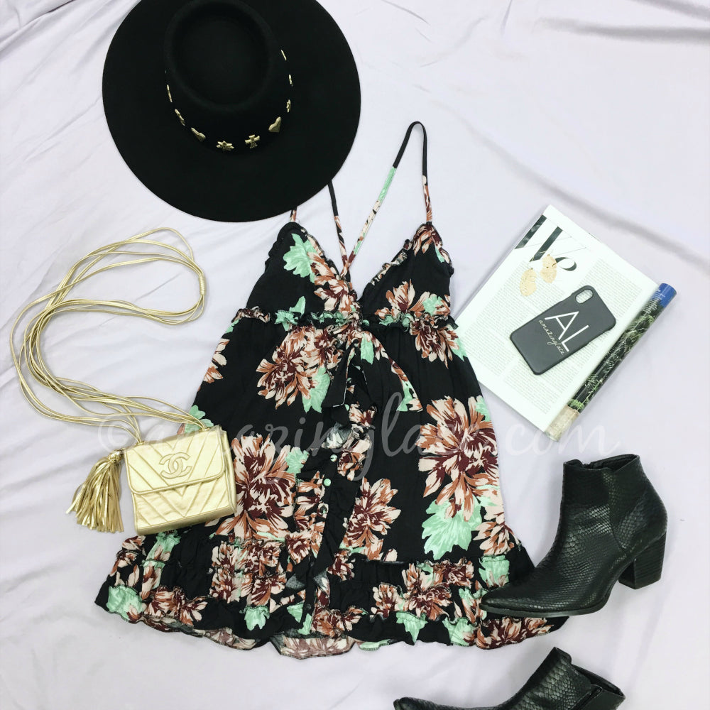 BLACK FLORAL MINI DRESS AND BOOTS OUTFIT