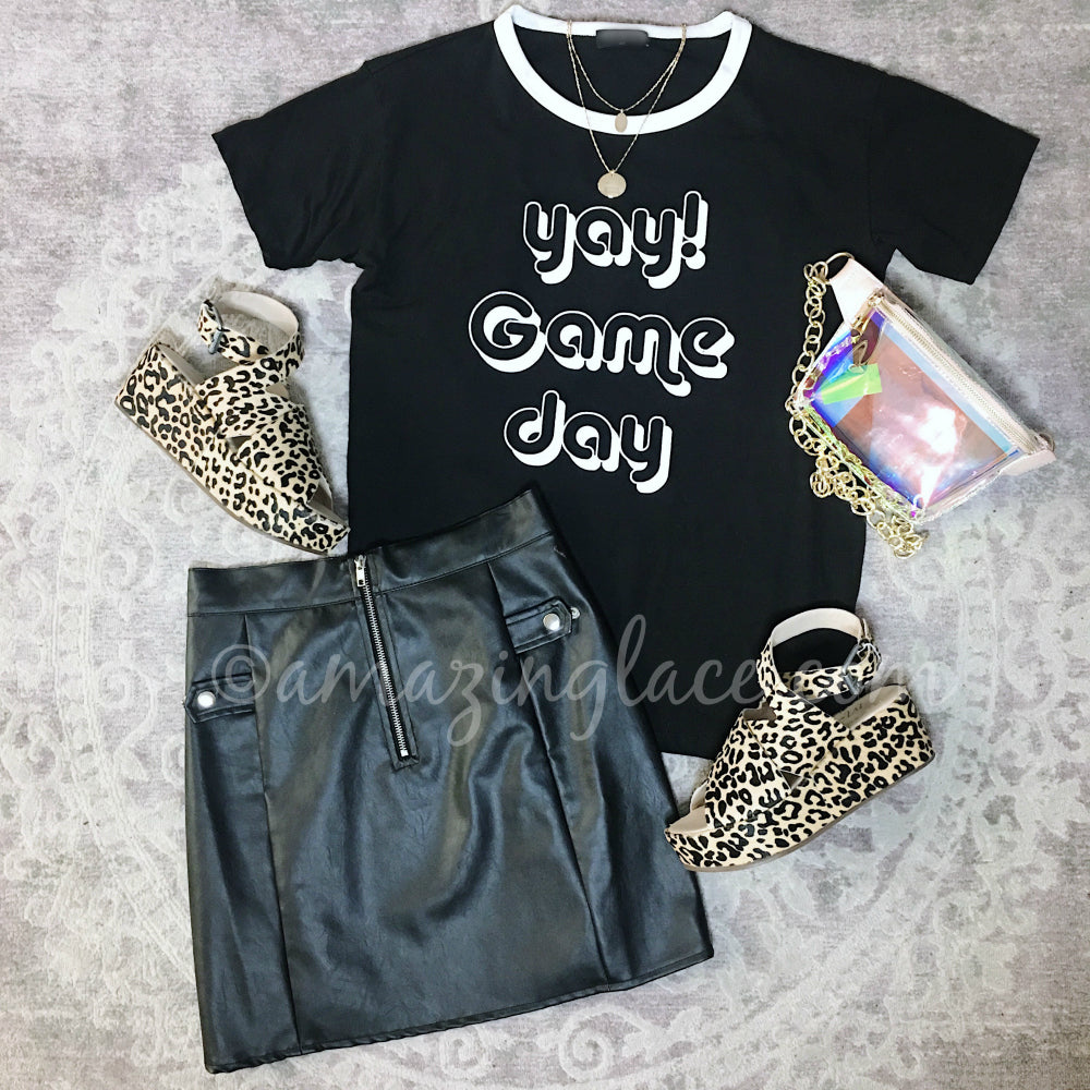 BLACK GAME DAY TEE AND VEGAN LEATHER SKIRT OUTFIT